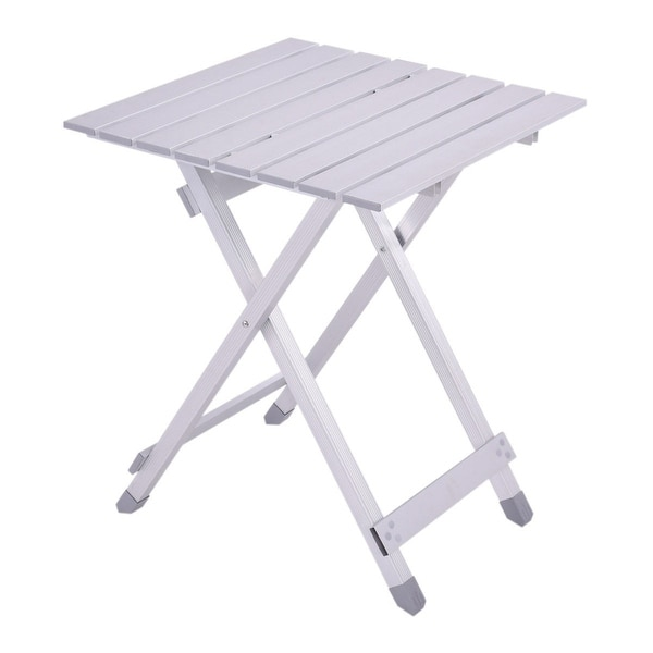 Costway Foldable Portable Table Roll Up Aluminum Alloy Picnic Outdoor Camping Ultralight - White