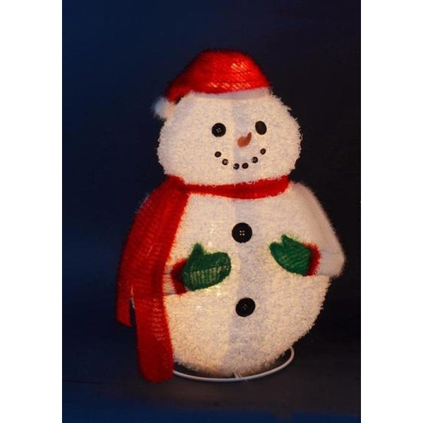 "24"" Lighted 3-D Jolly Winter Snowman Collapsible Outdoor Christmas Decoration - WHITE"