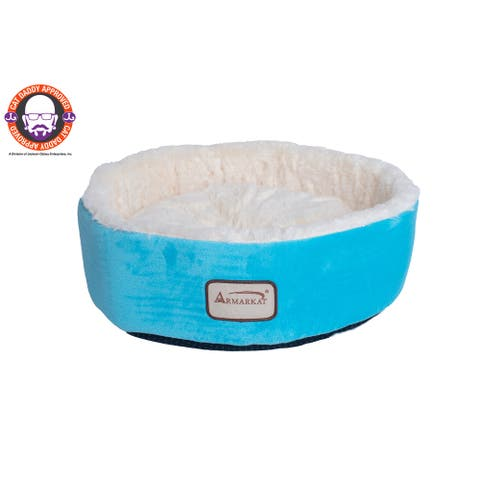 """Armarkat 14-inch Sky Blue and Ivory Cat Bed - 15""""d x 5""""h"""