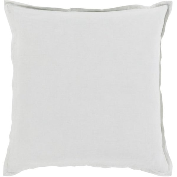 "18"" Silver Gray Solid Cotton Linen Decorative Throw Pillow - Down Filler"