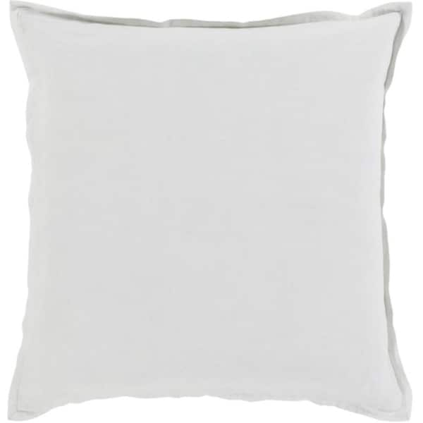 "22"" Silver Gray Solid Cotton Linen Decorative Throw Pillow"