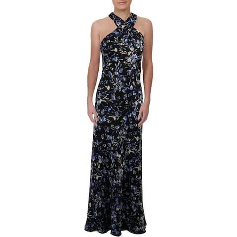 Lauren Ralph Lauren Womens Marylynn Evening Dress Metallic Floral Print - Black Multi