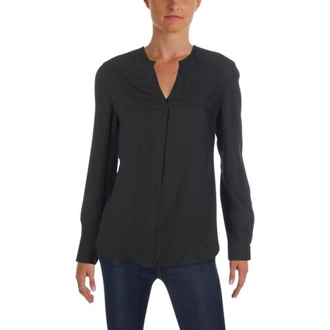 Anne Klein Womens Blouse V-Neck High-Low