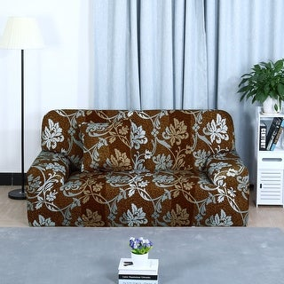 Unique Bargains Brown Color L-Shaped Stretch Sofa Covers Couch Sofa Slipcovers (1 2 3 Seater)