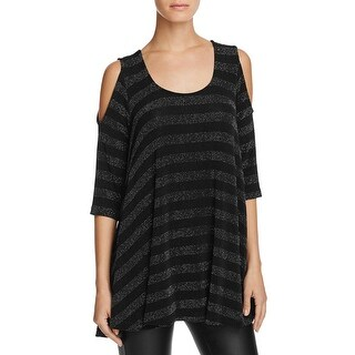 Nally & Millie Womens Casual Top Cold Shoulder Metallic