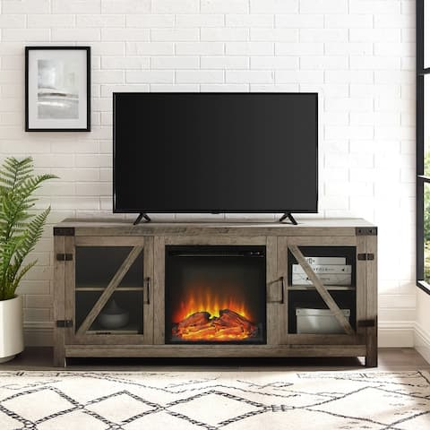 The Gray Barn 58-inch Glass Door Fireplace Console