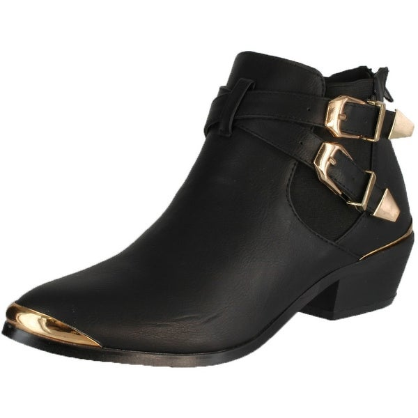 Refresh Party-02 Women's Buckle & Bands Accent Ankle Boots - Brown