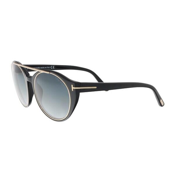 1511558e4b Shop Tom Ford FT0383 S 01W Joan Black Aviator Sunglasses - 52-19-140 ...