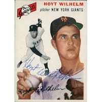 Signed Wilhelm Hoyt 1954 Topps Baseball Card in blue ball point pen autographed