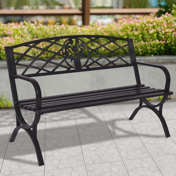 Costway 50 X27 Patio Garden Bench Park Yard Outdoor Furniture