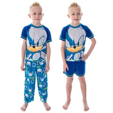 Sonic The Hedgehog Boys' Pajamas 3 Piece Shirt Shorts And Pants Video Game Sleepwear Loungewear Pajama Set