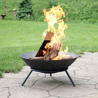 """22"""" Raised Bowl Cast Iron Fire Pit Bowl with Steel Finish"""