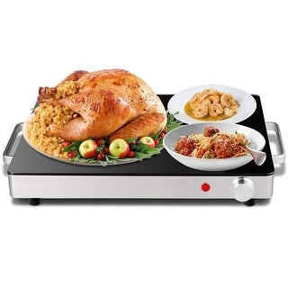 Costway Electric Warming Tray Stainless Steel Dish Warmer w/Black Glass Top Hot Plate - as pic