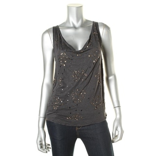 Alice + Olivia Womens Embellished Linen Tank Top