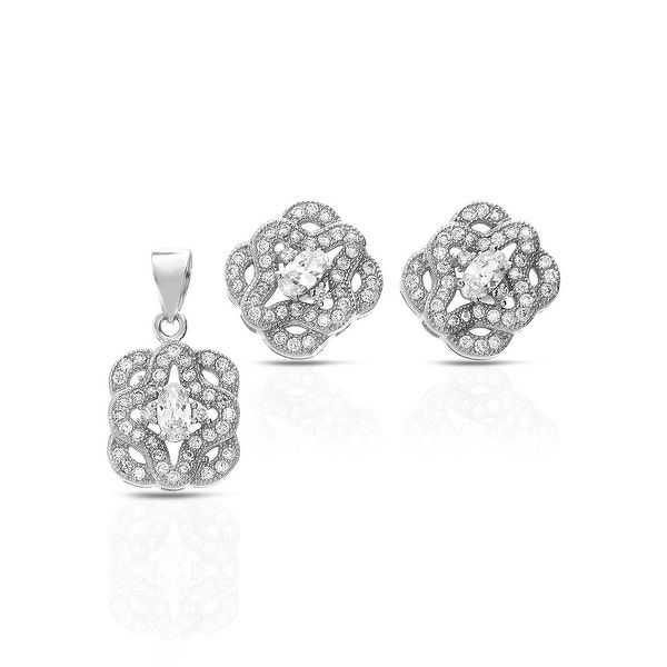 Mcs Jewelry Inc  STERLING SILVER 925 CUBIC ZIRCONIA RECTANGLE EARRING AND PENDANT SET WITH CENTER STONE