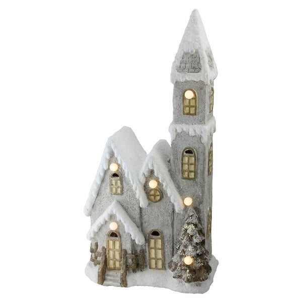 """24.5"""" LED Lighted 3-Tier Musical House Christmas Decoration - GOLD"""