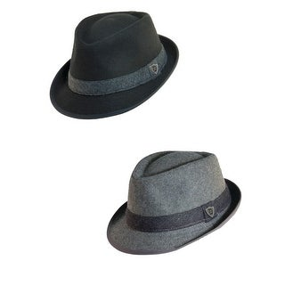 Dorfman Pacific Men's Wool Blend Fedora Hat with Herringbone Band (Pack of 2)