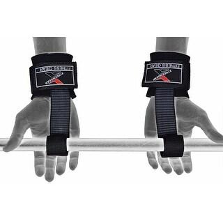Super Heavy Duty Lifting Straps Neoprene Padded Wrist Wraps Rubberized Grip H-7 - Black