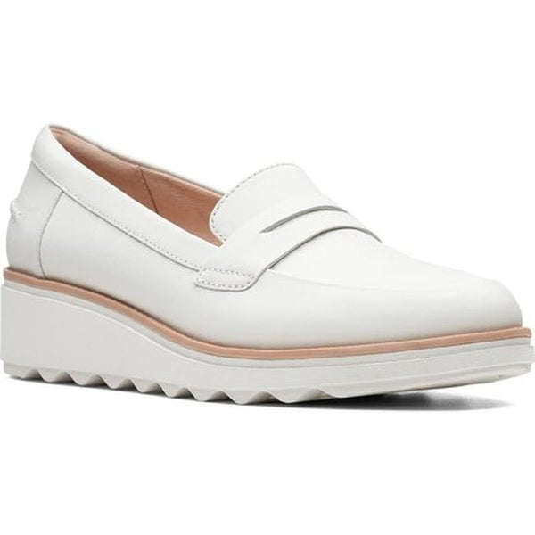 1c49d312522e0 Clarks Women's Sharon Ranch Penny Loafer White Leather Combination