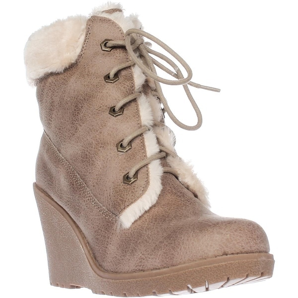 Dolce by mojo moxy Fresco Wedge Ankle Boot Booties, Camel