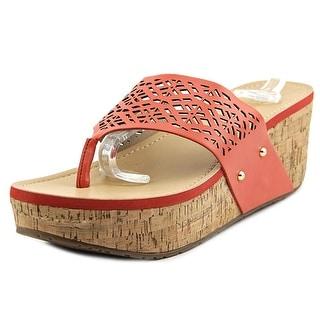 Kenneth Cole Reaction Fan Tastic 2 Women Open Toe Leather Pink Wedge Sandal