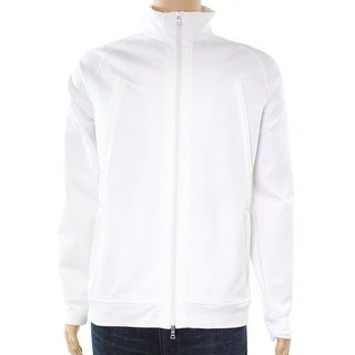 INC NEW White Faux-Leather Trimmed Mens Size XL Basic Full-Zip Jacket
