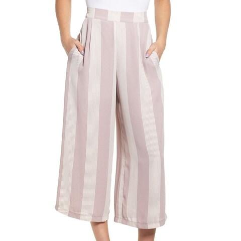 Leith Purple Striped Women Small XXL Wide Leg Lined Dress Pants