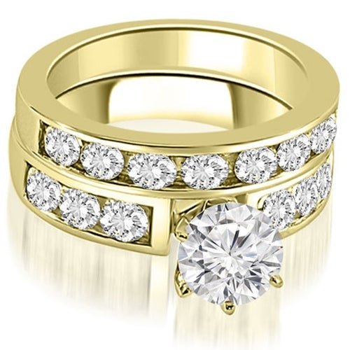 2.25 cttw. 14K Yellow Gold Classic Channel Set Round Cut Diamond Bridal Set