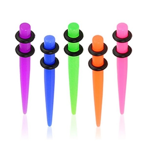 Solid UV Neon Acrylic Taper with O-Ring (Sold Individually)