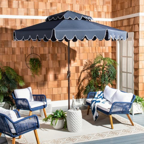 Safavieh Outdoor Living Venice 9Ft Round Double Top Crank Umbrella