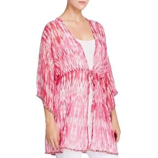 Moon & Meadow Womens Wrap Top Silk 3/4 Sleeves