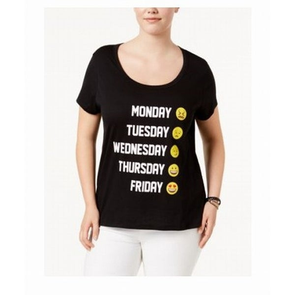 179570f9 Shop Freeze Black Women's Size 3X Plus Emoji Days Of The Week Graphic Tee -  Free Shipping On Orders Over $45 - Overstock - 27287030