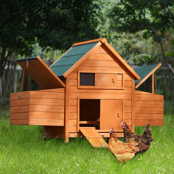 Wood Chicken Coop for 2-3 Chickens, Small Animal Cage Bunny Hutch - Medium. Opens flyout.