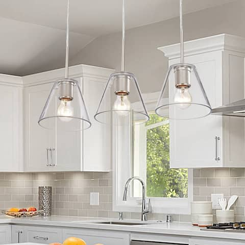 3-light 23-inch Light w/ Clear Glass Pendant Shades