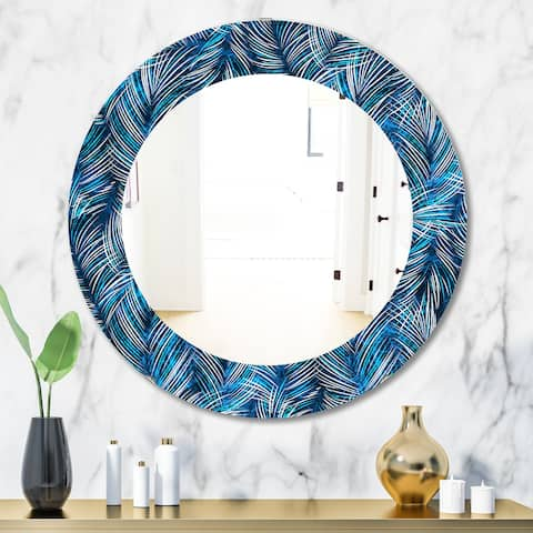 Designart 'Tropical Palm Leaves' Bohemian and Eclectic Mirror - Oval or Round Wall Mirror - Blue
