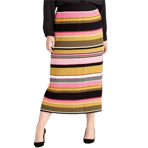 Rachel Roy Womens Pull-On Midi Skirt, Multicoloured, 2X