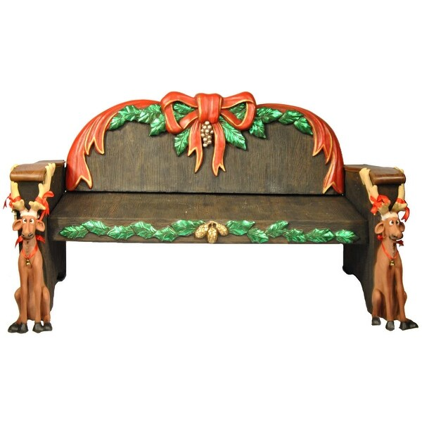 Christmas at Winterland WL-SANTA-BENCH 6.5 Foot Long Life Size Santa Bench Indoor / Outdoor - MultiColor - N/A