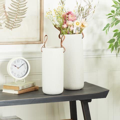 CosmoLiving by Cosmopolitan White Stoneware Contemporary Vase 15 x 12 - 9 x 8 x 15 Round