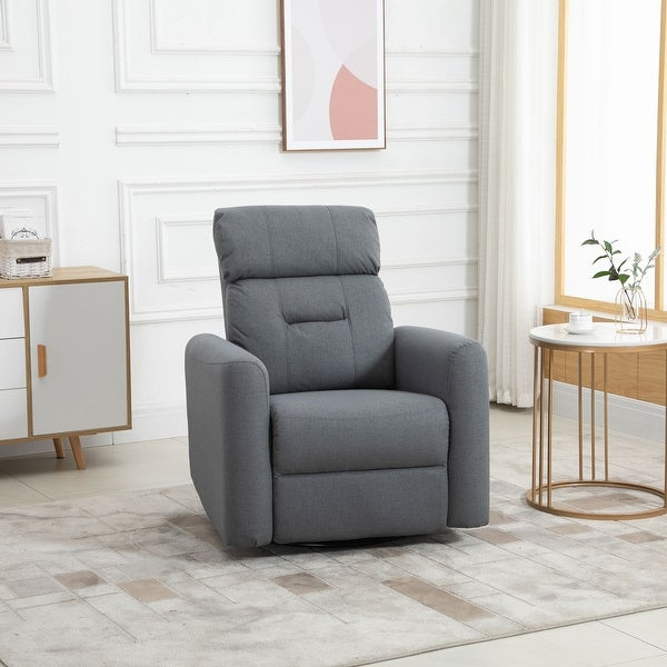 HOMCOM Manual Recliner Swivel Chair Rocker Armchair Sofa with Linen Upholstered Seat and Backrest for Living Room, Beige. Opens flyout.