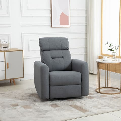 HOMCOM Manual Recliner Swivel Chair Rocker Armchair Sofa with Linen Upholstered Seat and Backrest for Living Room, Beige