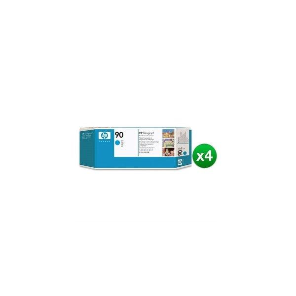 HP 90 Cyan DesignJet Printhead & Printhead Cleaner (C5055A) (4-Pack)