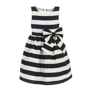 Sweet Kids Little Girls Black White Stripe Ribbon Accent Occasion Dress 4