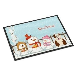 Carolines Treasures BB2452MAT Merry Christmas Carolers English Bulldog Brindle White Indoor or Outdoor Mat 18 x 0.25 x 27 in.