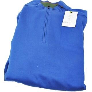 Robert Graham Mens Medium Blue Fog Long Sleeve 1/4 Zip Pullover Sweater