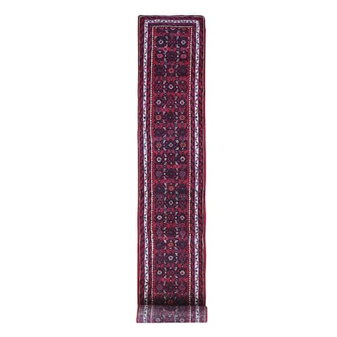 """Shahbanu Rugs Narrow Runner Vintage Persian Hamadan Hussainabad Excellent Condition Wool Red Hand Knotted Rug (2'0"""" x 14'5"""")"""