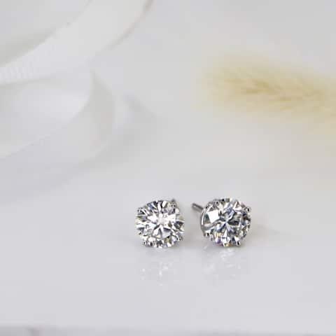 Auriya 2 1/2ctw Round Moissanite Stud Earrings Platinum 4-Prong Basket - 7 mm
