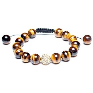 Bling Jewelry Shamballa Inspired Bracelet Tiger Eye Beads Crystal Ball 12mm Alloy