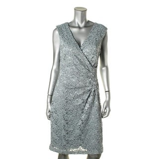 Connected Apparel Womens Lace Sleeveless Cocktail Dress