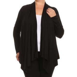 Women Plus Size Long Sleeve Jacket Casual Cover Up Black