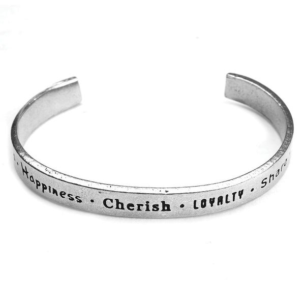 Women's Note To Self Inspirational Lead-Free Pewter Cuff Bracelet - Friends/Happiness - Silver